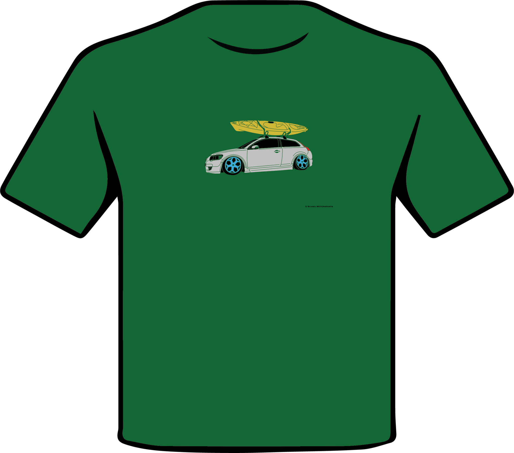 Volvo C-30 with Kayak Multi Color T-Shirt