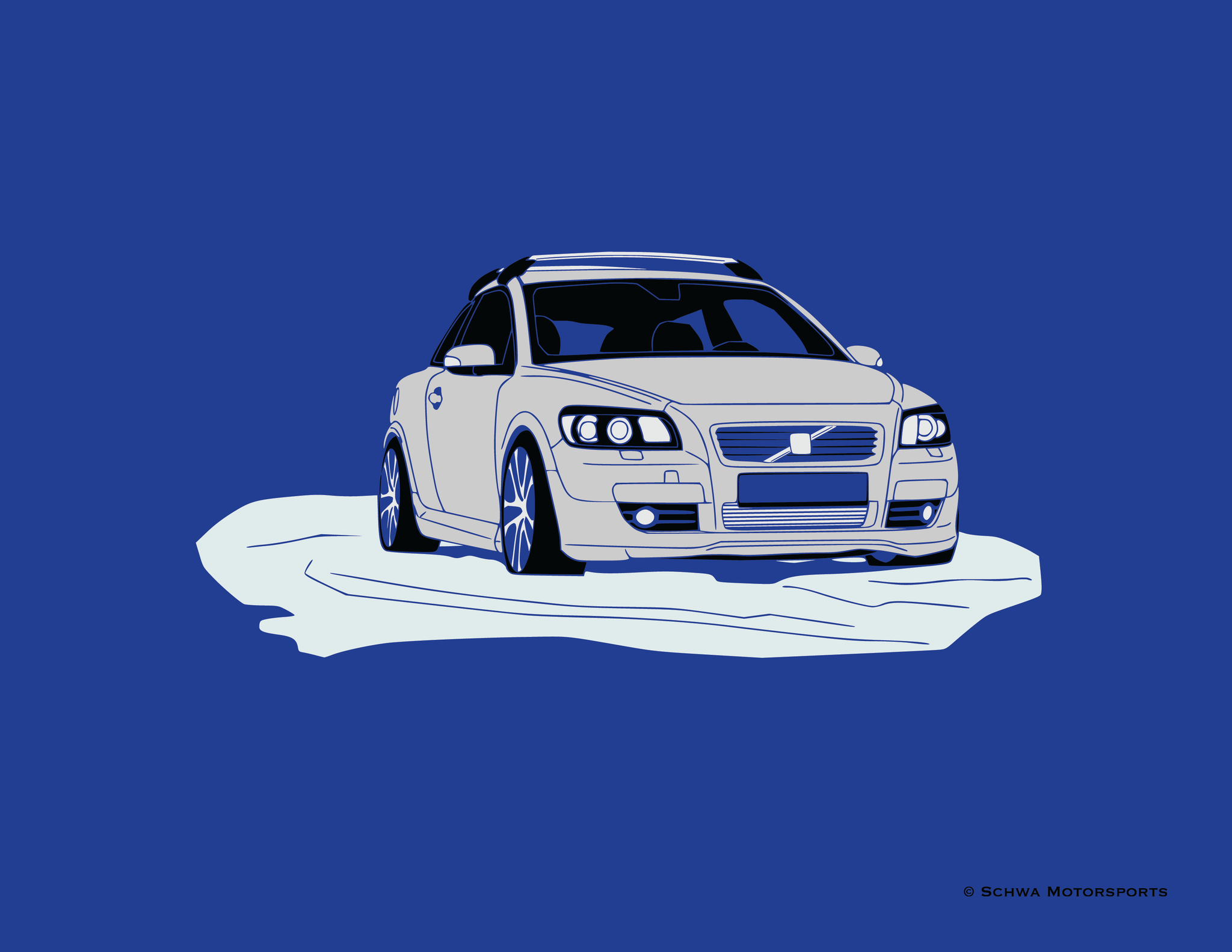 Volvo C-30 in Snow Multi Color T-Shirt