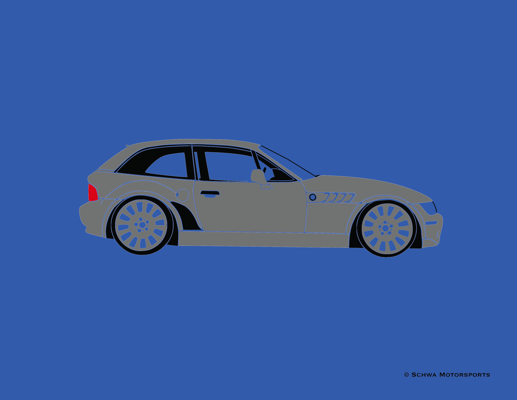 BMW Z3 Coupe Side View Multi Color T-Shirt