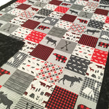 Woodland Buffalo Plaid Designer Luxe Minky Blanket