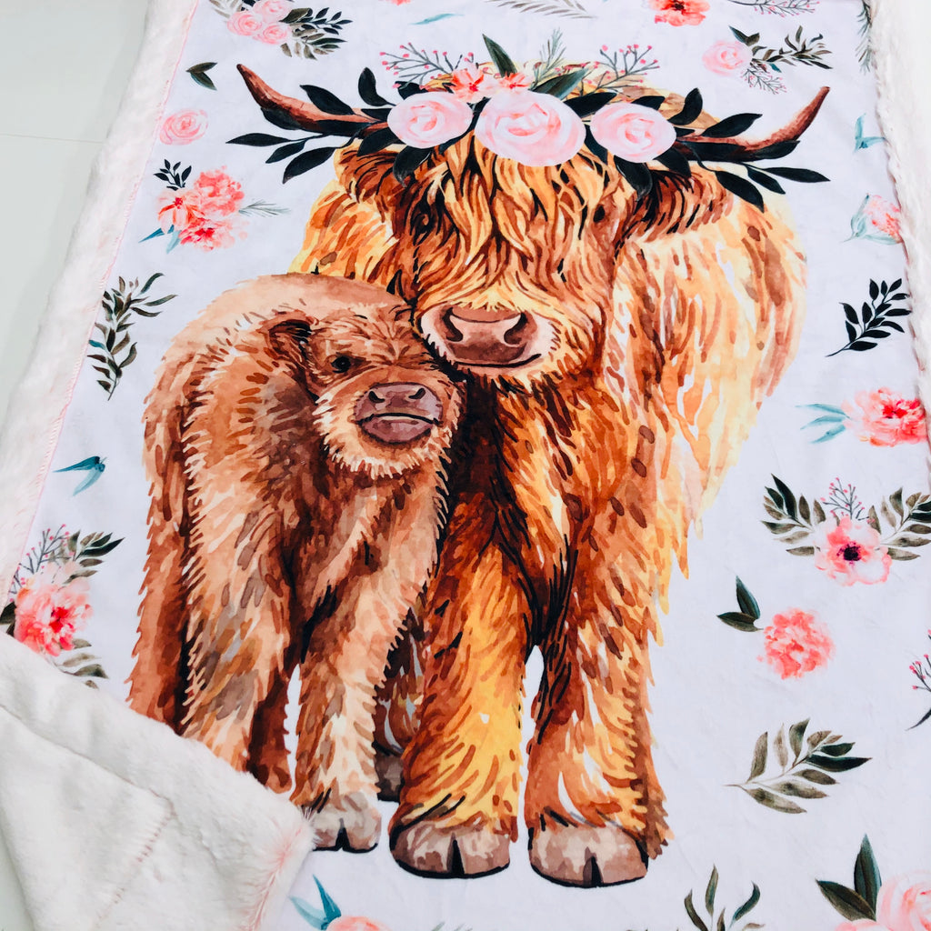 Floral Highland Cow Panel Designer Luxe Minky Blanket