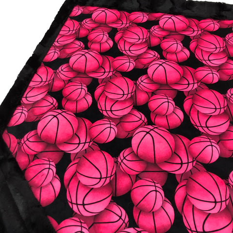 Hot Pink Basketball Designer Luxe Minky Blanket