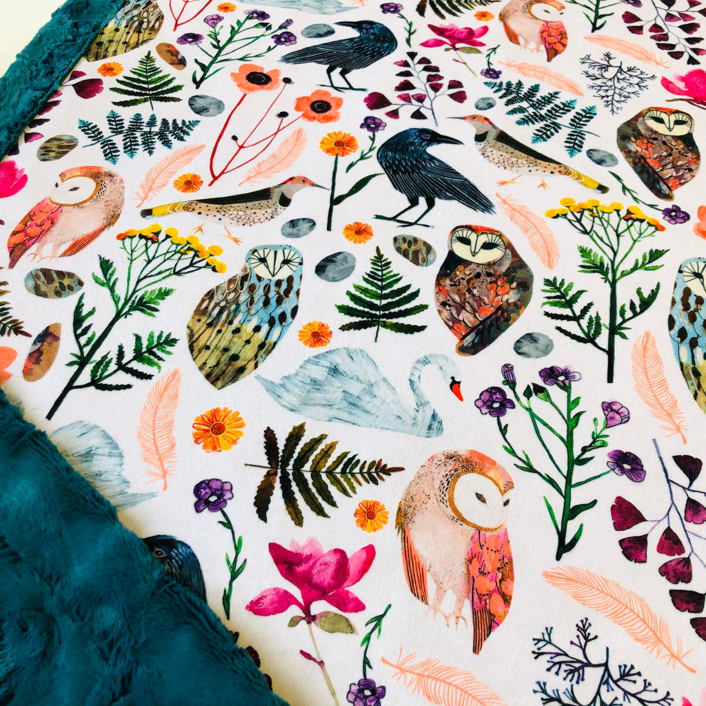 Big Birds of a Feather Designer Luxe Minky Blanket