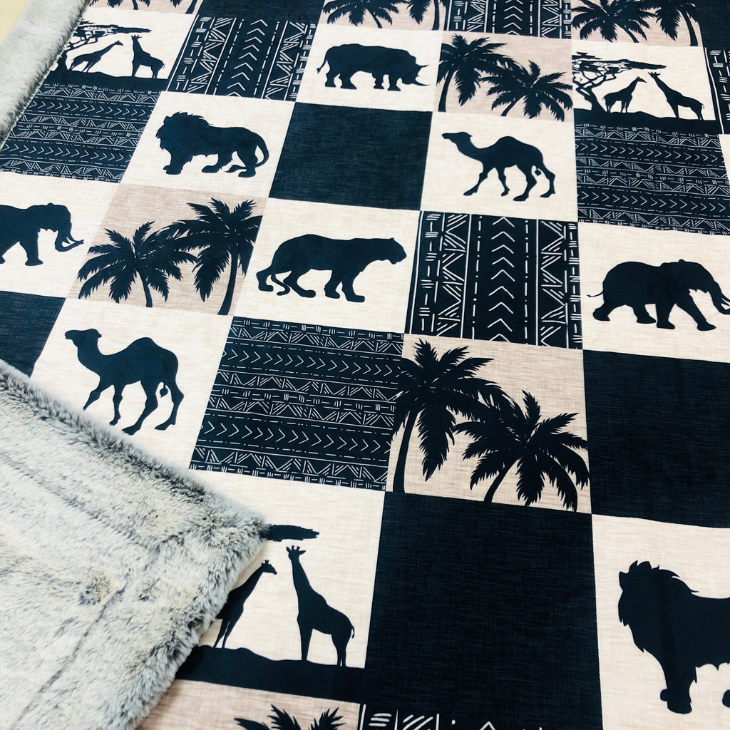 Jungle Safari Patchwork Designer Luxe Minky Blanket