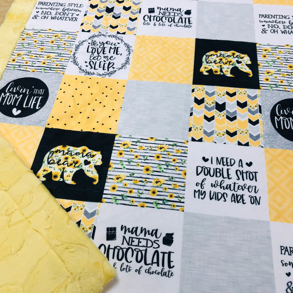 Yellow Sunflowers Mama Bear Designer Luxe Minky Blanket