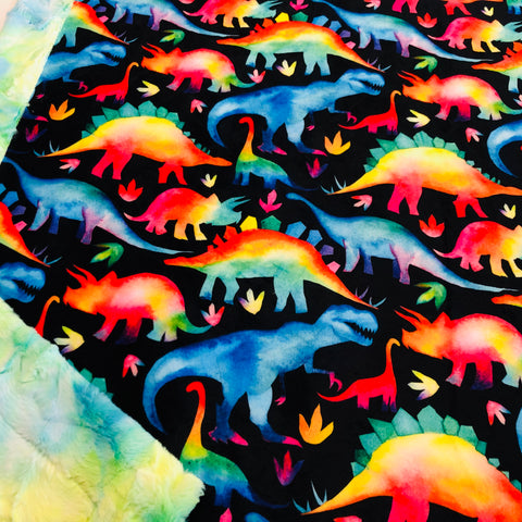 Primary Watercolor Dinosaur Designer Luxe Minky Blanket
