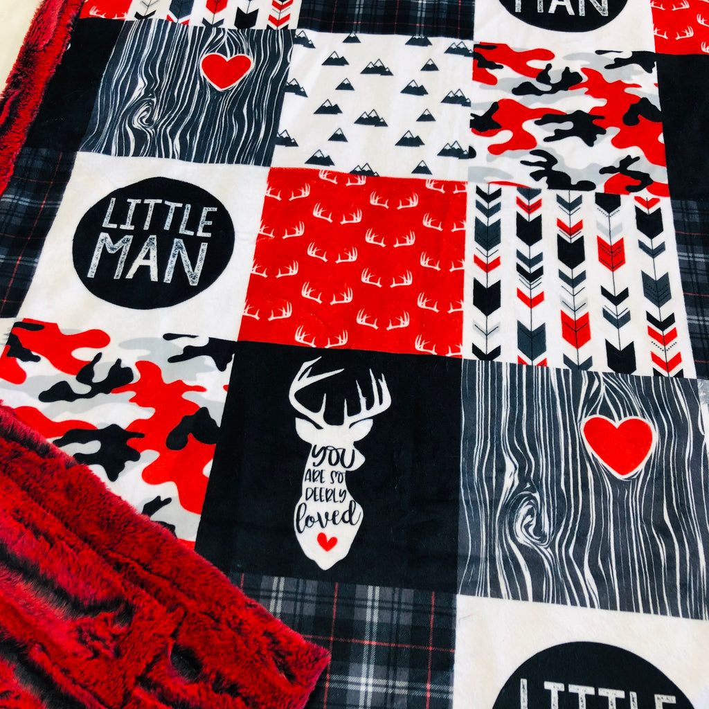 Red Little Man Buck Designer Luxe Minky Blanket