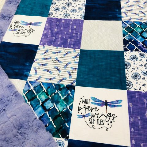 With Brave Wings She Flies Dragonfly Designer Luxe Minky Blanket