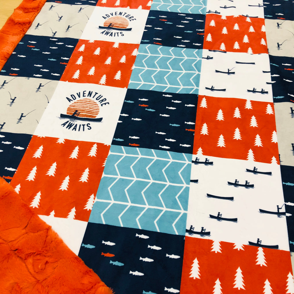 Fishing Adventure Awaits Designer Luxe Minky Blanket