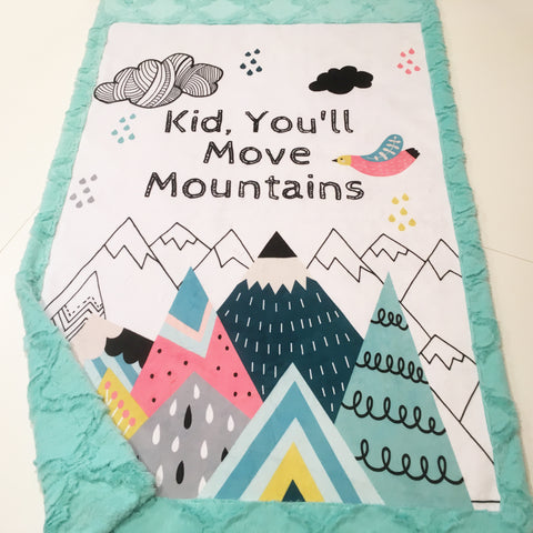 Kid, You'll Move Mountains Designer Luxe Minky Blanket