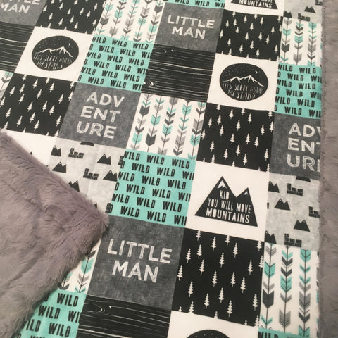 Little Man Adventure Designer Luxe Minky Blanket