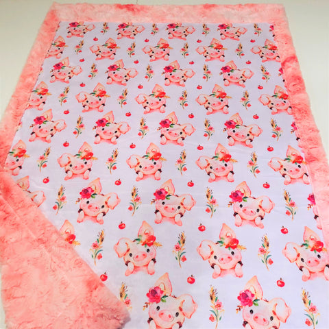 Little Piggies Designer Luxe Minky Blanket