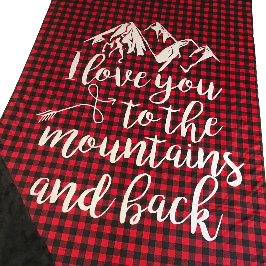 Love You To The Mountains and Back Designer Luxe Minky Blanket