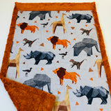 Modern Safari Animals Designer Luxe Minky Blanket