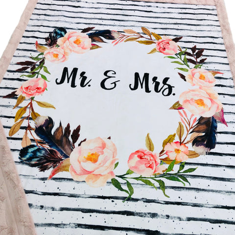 Floral Mr and Mrs Designer Luxe Minky Blanket