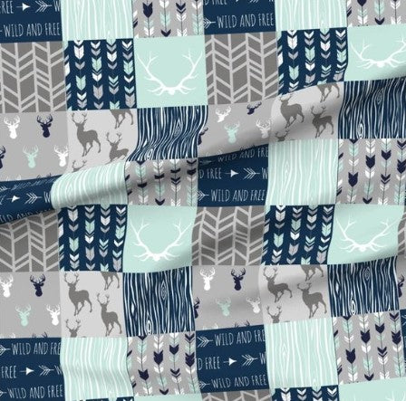 Mint and Navy Wild and Free Designer Luxe Minky Blanket