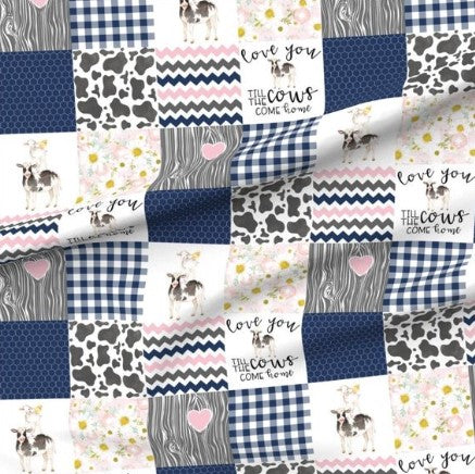 Navy and Pink Love You Till the Cows Come Home Designer Luxe Minky Blanket