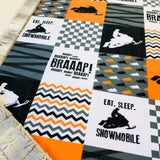 Orange Eat Sleep Snowmobile Designer Luxe Minky Blanket