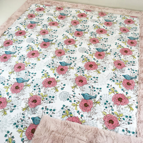 Peonies and Blue Birds Designer Luxe Minky Blanket