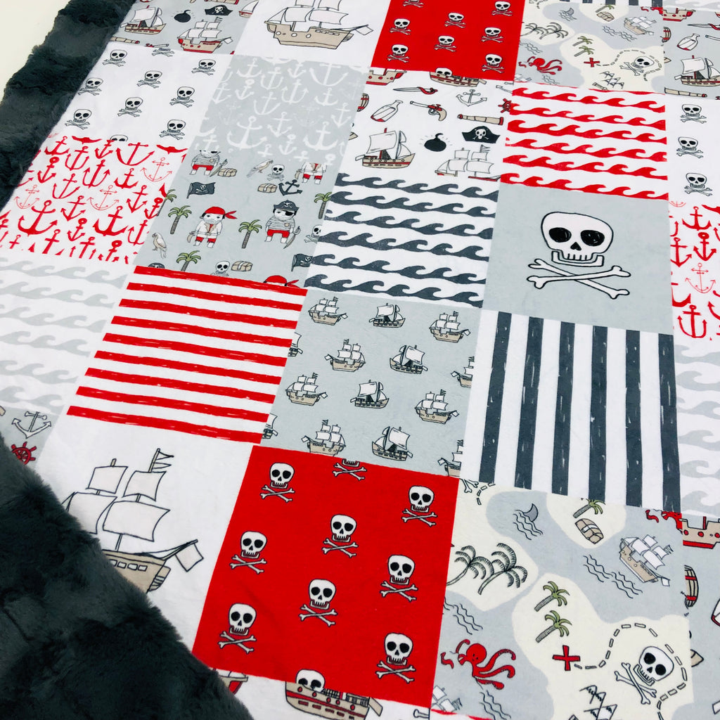 Red Pirate Patchwork Designer Luxe Minky Blanket