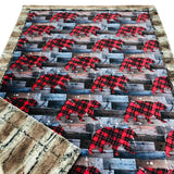 Plaid Bears Designer Luxe Minky Blanket