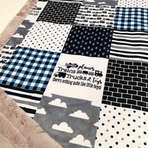 Planes Trains Trucks and Toys Designer Luxe Minky Blanket