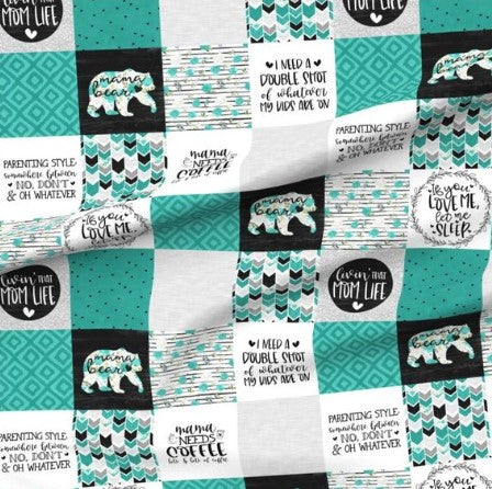Turquoise Mama Bear Designer Luxe Minky Blanket