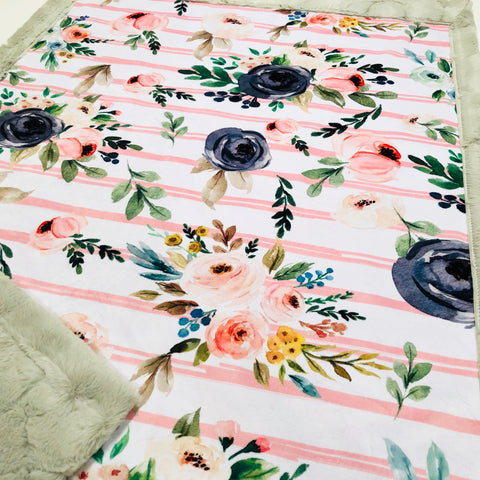 Watercolor Floral Bunches Designer Luxe Minky Blanket