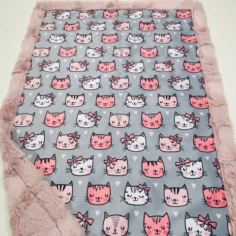 Pink Cat Faces Designer Luxe Minky Blanket