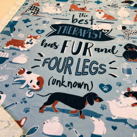 Fur and Four Legs Pet Panel Designer Luxe Minky Blanket