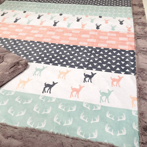 Girl Deer Strip Style Designer Luxe Minky Blanket