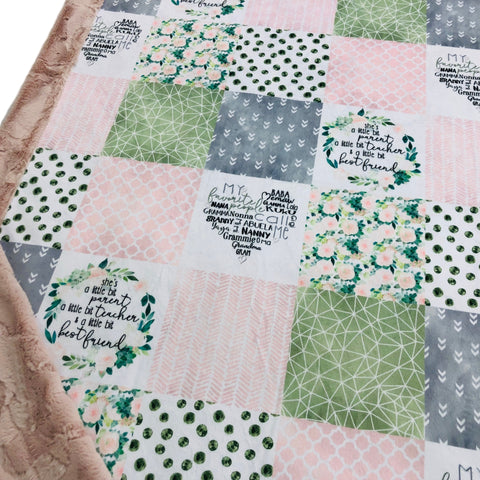 Grandmother Patchwork Designer Luxe Minky Blanket