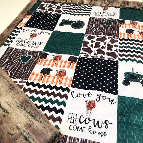Love You Till The Cows Come Home Designer Luxe Minky Blanket
