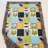 The Mountains are Calling Designer Luxe Minky Blanket