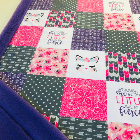 Fierce Kitty Patchwork Designer Luxe Minky Blanket