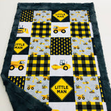 Little Man Construction Patchwork Designer Luxe Minky Blanket