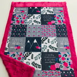 Pink Little and Brave Designer Luxe Minky Blanket