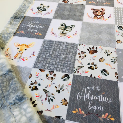 The Adventure Begins Designer Luxe Minky Blanket