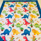 Primary Color Dinosaurs Designer Luxe Minky Blanket