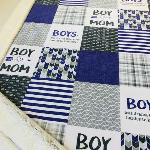 Purple Boy Mom Designer Luxe Minky Blanket