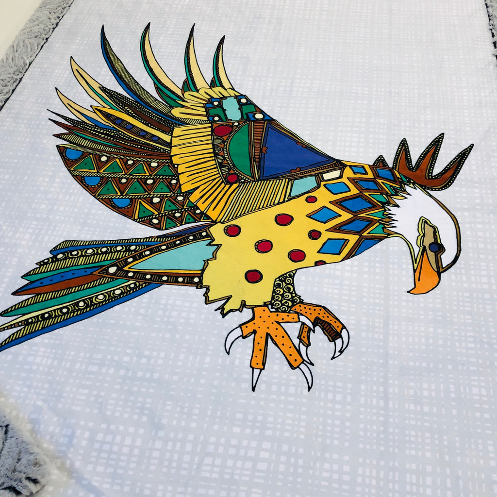 Native American Eagle Designer Luxe Minky Blanket