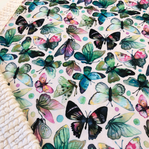 Watercolour Butterfly Designer Luxe Minky Blanket