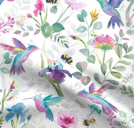 Hummingbirds and Bees Designer Luxe Minky Blanket