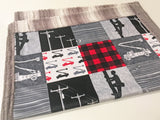 Red and Gray Lineman Designer Luxe Minky Blanket