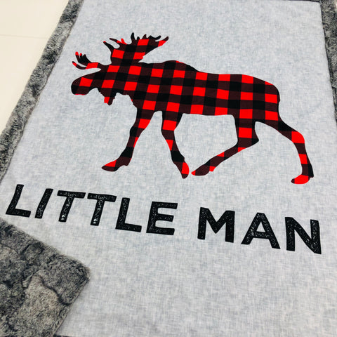 Little Man Moose Designer Luxe Minky Blanket