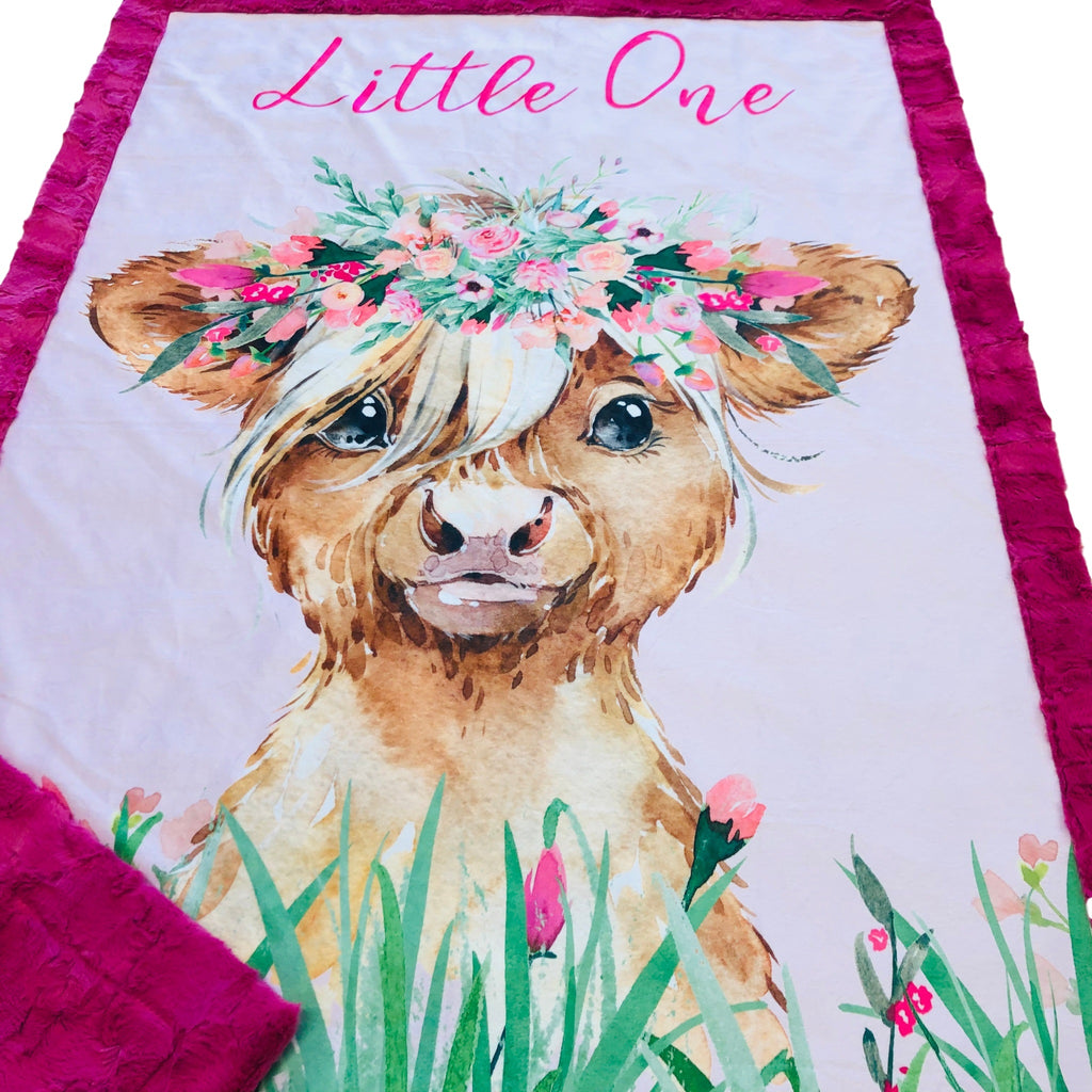 Little One Baby Highland Cow Designer Luxe Minky Blanket
