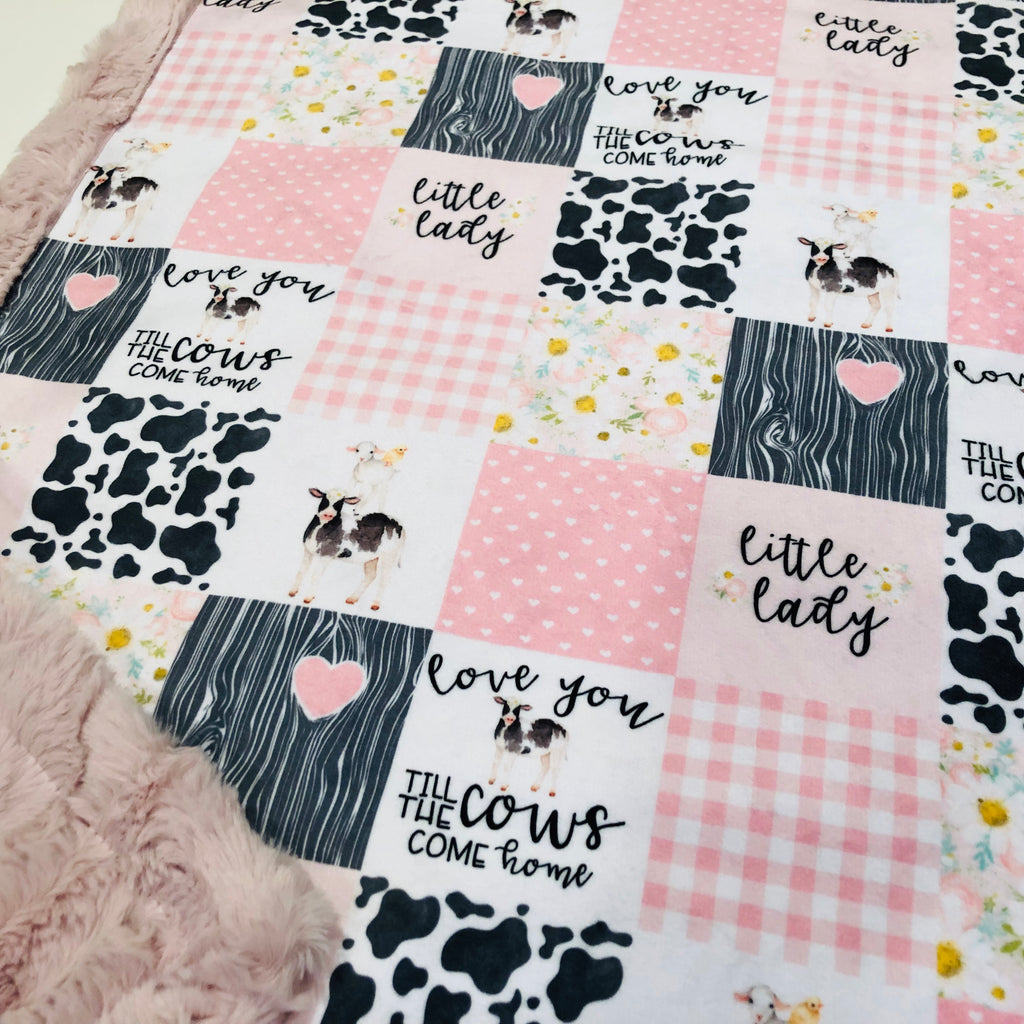 Pink Love You Till The Cows Come Home Designer Luxe Minky Blanket