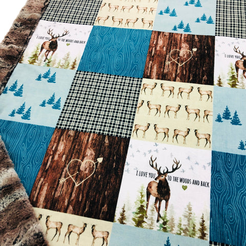 Love You To The Woods and Back Designer Luxe Minky Blanket