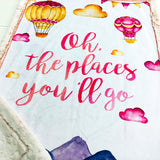 Pink Oh The Places You'll Go Designer Luxe Minky Blanket