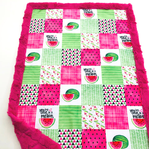 One In A Melon Patchwork Designer Luxe Minky Blanket